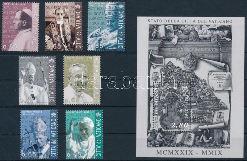 80th anniversary of Vatican City set + block, 80 éves a Vatikán sor + blokk