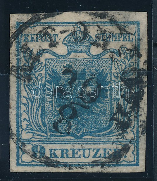 9kr HP II greyish blue with plate flaw, highlighted middle part