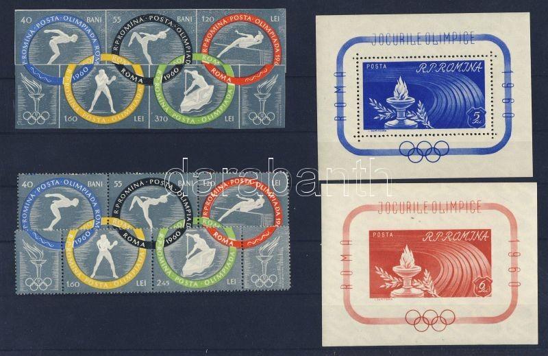 Rome Olympics imperforated and perforated set + block Római olimpia fogazott és vágott sor + block