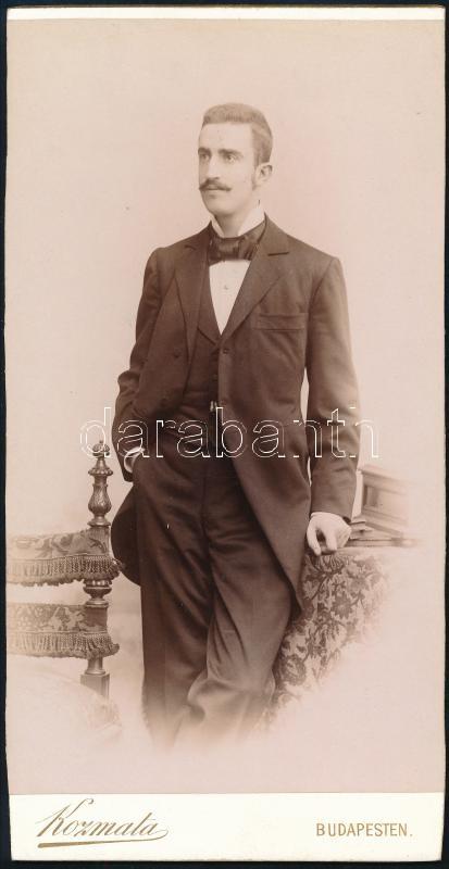 cca 1897 Budapest, Kozmata Ferencz (?-?) császári és királyi udvari fényképész műtermében készült, keményhátú vintage fotó, 20,6x10,8 cm