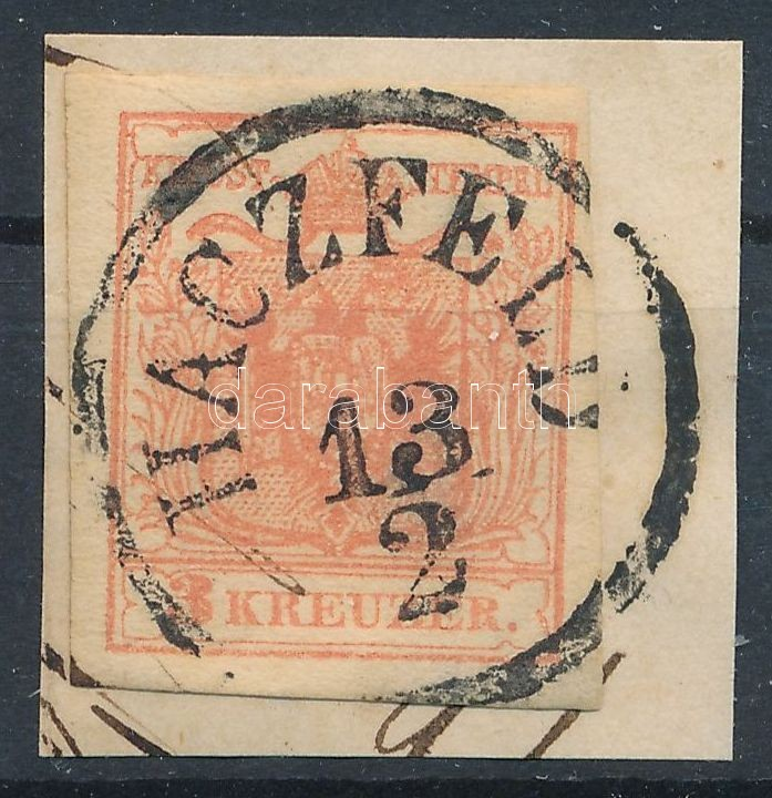 3kr MP IIIb pale red with nice margins on cutting