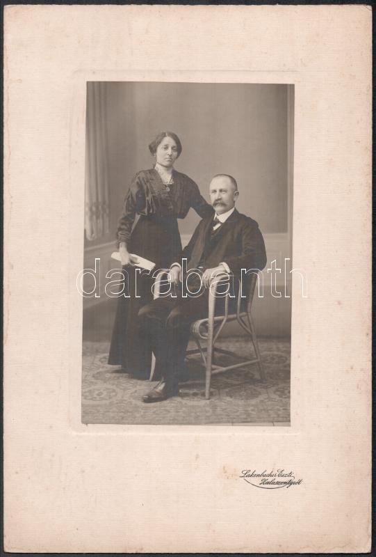 cca 1910 Zalaszentgrót, Lackenbacher Eszti fényképészeti műtermében készült keményhátú vintage fotó, 31x21 cm