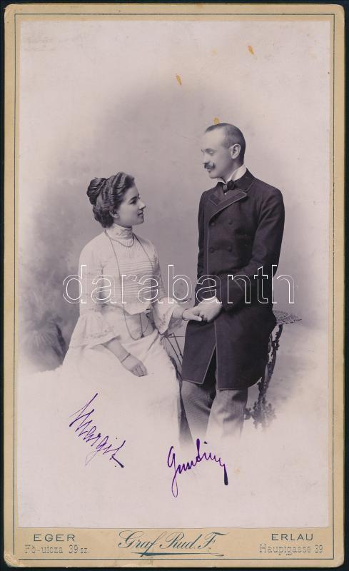 1902 Eger, Graf Rudolf fényképész műtermében készült, keményhátú vintage fotó, datálva, 21,5x13 cm
