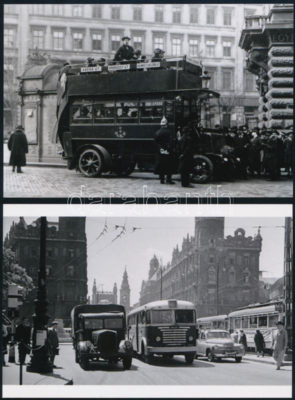 Különböző időpontokban készült felvételek budapesti autóbuszokról, 4 db mai nagyítás Fekete György (1904-1990) budapesti fényképész gyűjtéséből, 10x15 cm