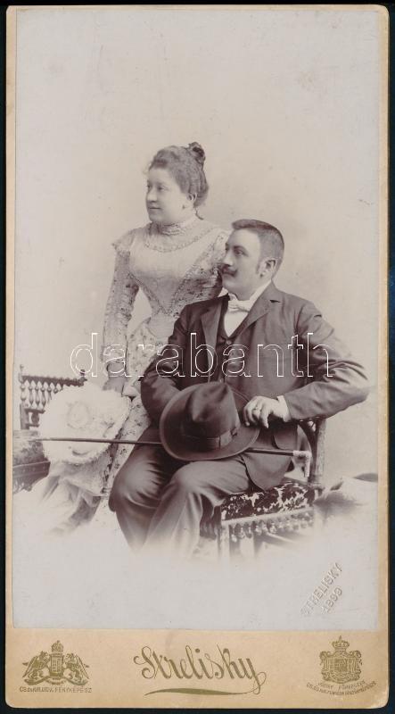 1899 Budapest, Strelisky Sándor (1851-1922) császári és magyar királyi udvari fényképész műtermében készült, keményhátú vintage fotó, 20,5x11,2 cm