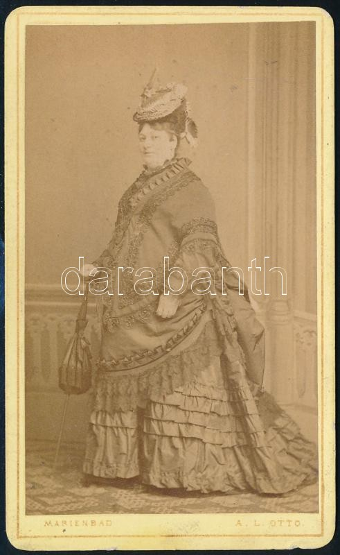 cca 1890 Marienbad, A. L. Ottó fényképész műtermében készült, keményhátú, vintage fotó, 10,4x6,3 cm