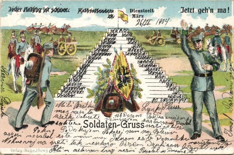 Soldaten-Gruss / military greeting card, soldiers, K.u.K. flag litho, Katonai üdvözlő lap, K.u.K. katonák és zászló litho