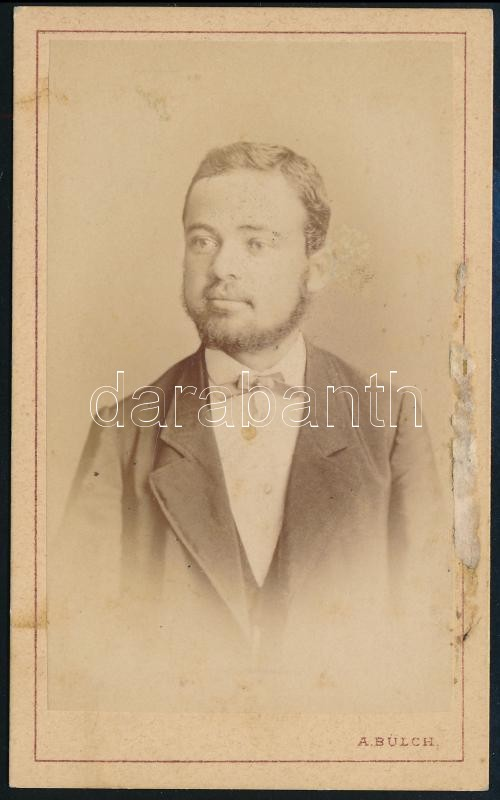 1869 Pest, Bülch Ágoston fényképíró műtermében készült, keményhátú vintage fotó, 10,5x6,4 cm
