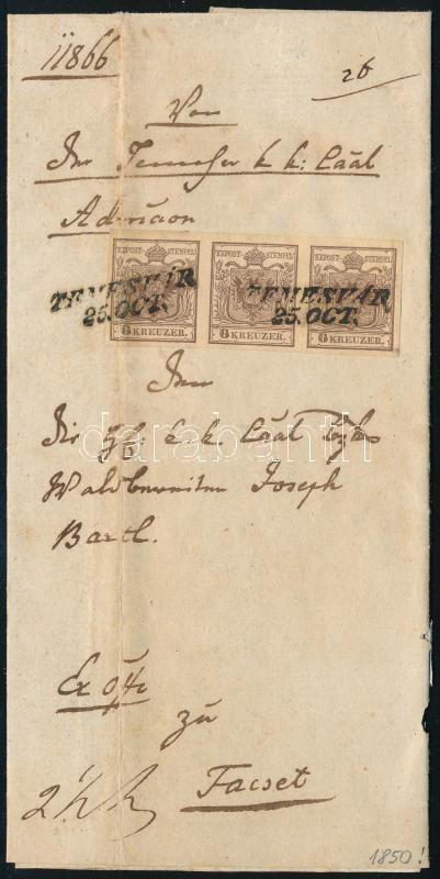 1850.10.25. 6kr HP I stripe of 3 (first stamp folded)