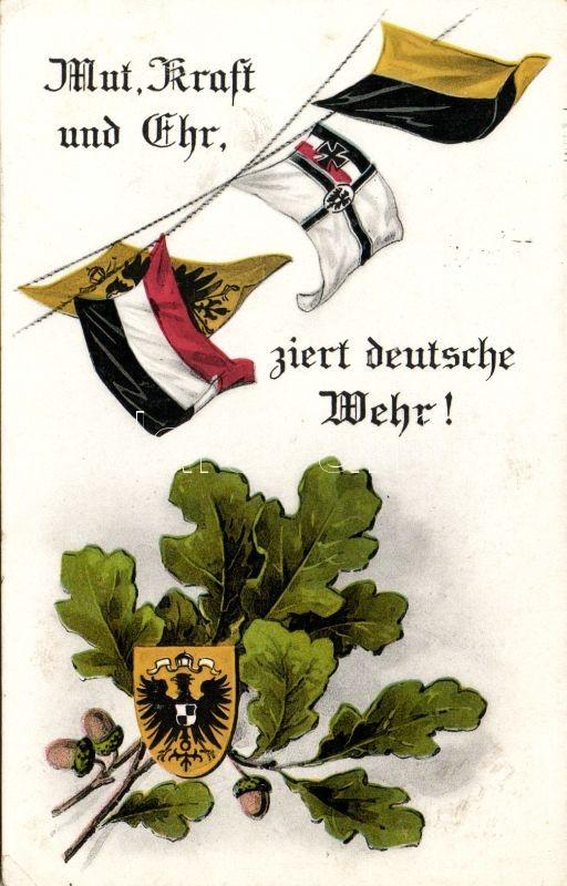 WWI K.u.K. military propaganda, flag, acorn, Első világháborús K.u.K. propaganda, zászló, makk