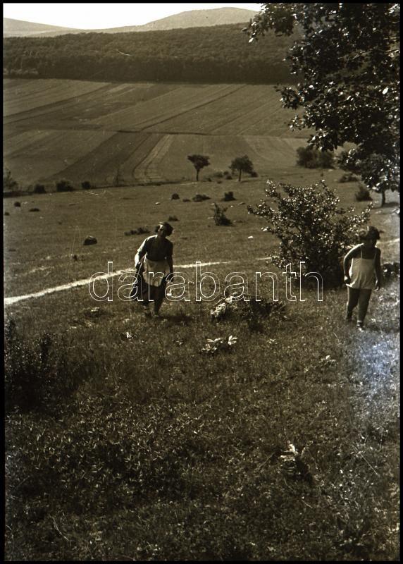 cca 1932 Kinszki Imre (1901-1945) budapesti fotóművész hagyatékából vintage NEGATÍV (Kinszki Gáborka és anyukája), 6x4,5 cm