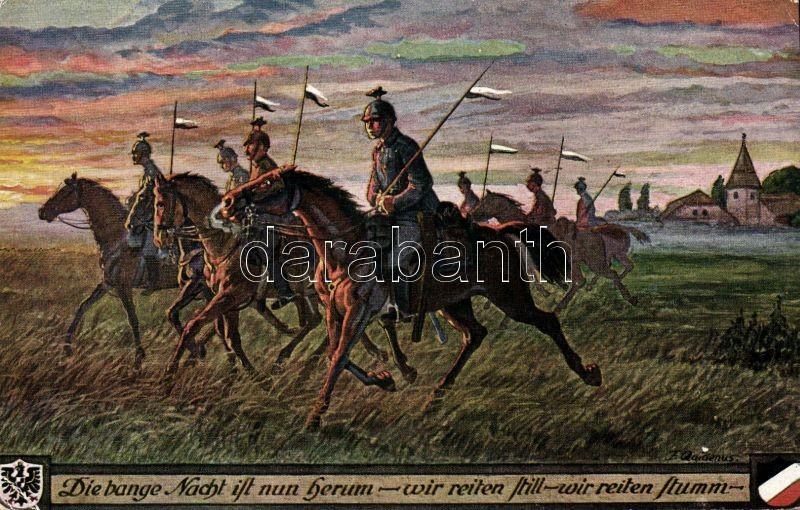 WWI K.u.K. military card, cavalry s: Fritz Quidenus, Első világháborús, K.u.K. katonai lap, lovasság s: Fritz Quidenus