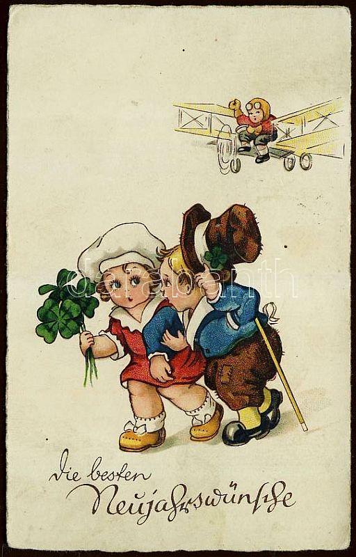 New Year, children, clover, aeroplane litho, Újév, gyerekek, lóhere, repülő litho