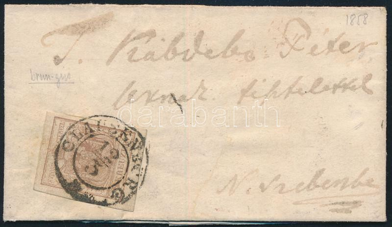 6kr MP III. margin stamp on small cover