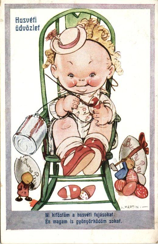 Húsvét, tojásfestő gyerek s: L. Martini, Easter, egg painting child s: L. Martini