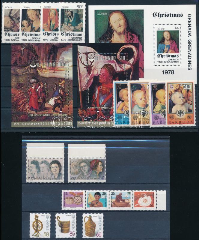 6 blocks + 18 stamps, Művészet, festmény motívum tétel 3 stecklapon: 6 klf blokk és 18 klf bélyeg
