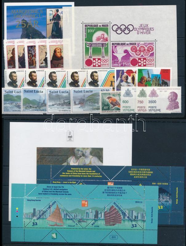 20 different stamp + 13 different blocks, Külföldi bélyegek vegyesen 5 stecklapon: 20 klf bélyeg és 13  klf blokk, közte motívum értékek