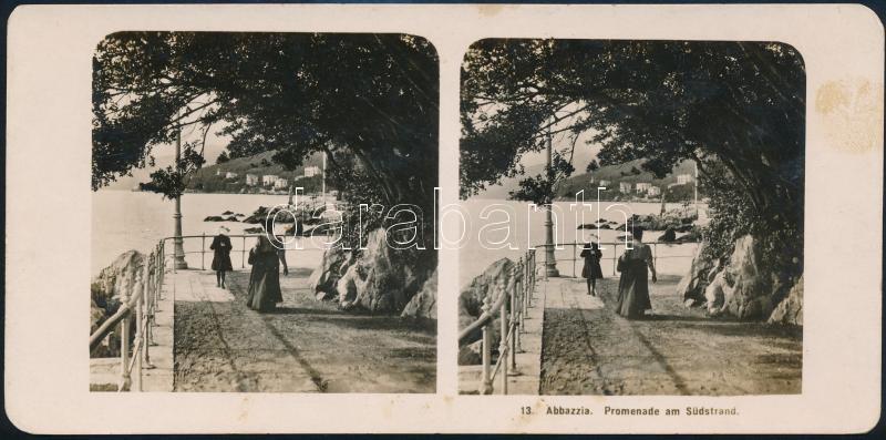 1912 Abbázia, sztereófotó, 9x18 cm