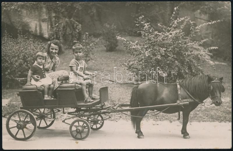 1947 Budapesti Állatkert, a gyerekek a népszerű pónifogaton fotózkodnak, vintage fotó, 9x14 cm