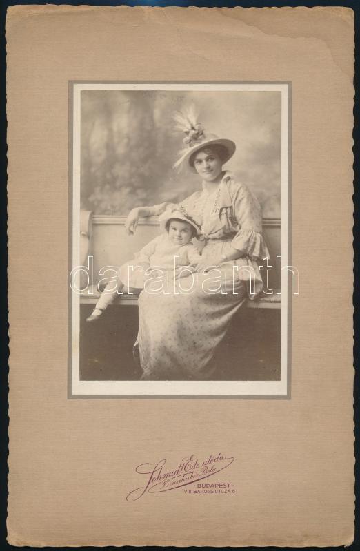 cca 1910 Budapest, Schmidt Ede utóda fényképészeti műtermében készült vintage fotó, 15x10n2 cm, karton 27,5x17,8 cm