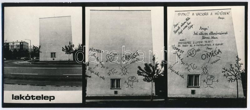 cca 1980 Kolozsi Sándor: Lakótelep, jelzés nélküli vintage fotóművészeti alkotás, 10,5x24 cm