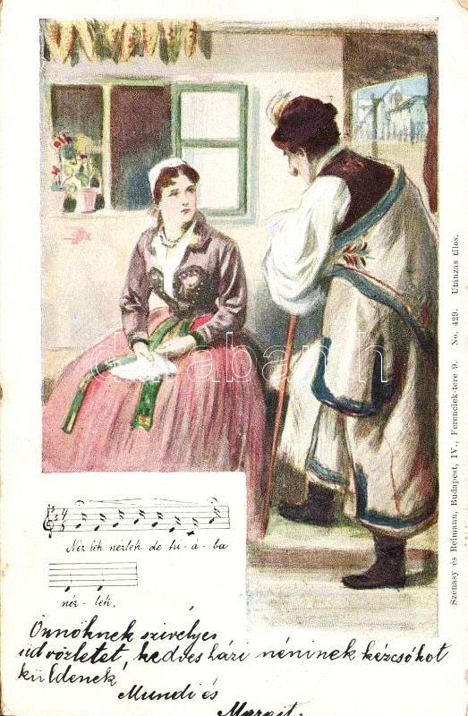1899 Hungarian folklore with folk song, 1899 Magyar folklór, népdallal, Szénásy és Reinmann No. 429.