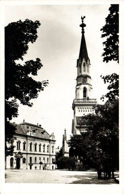 Lucenec, Kalvinsky kostol / church 'vissza' So. Stpl, Losonc, Református templom 'vissza' So. Stpl