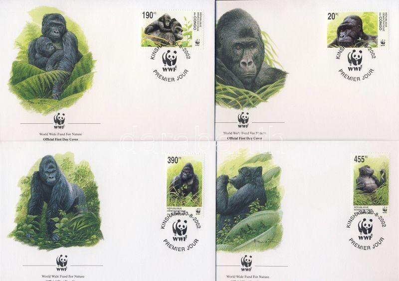 WWF Eastern lowland gorilla set 4 FDC, WWF Keleti síkvidéki gorilla sor 4  FDC, WWF Östlicher Flachlandgorilla Satz 4 FDC