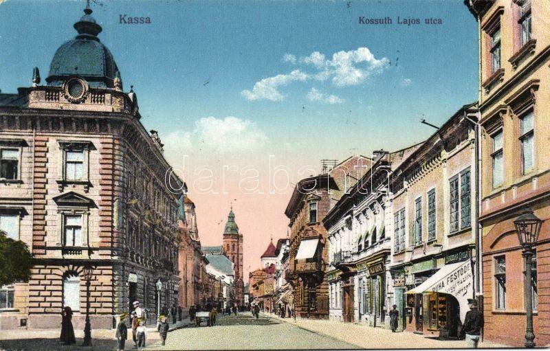 Kosica, street, dry cleaner's, Kassa, Kossuth Lajos utca, Ruha festöde vegytisztító intézet