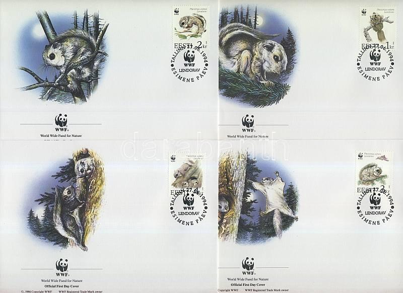 WWF Flying Squirrel set + 4 FDC, WWF Repülőmókus sor + 4 FDC, WWF Gewöhnliches Gleithörnchen Satz + 4 FDC
