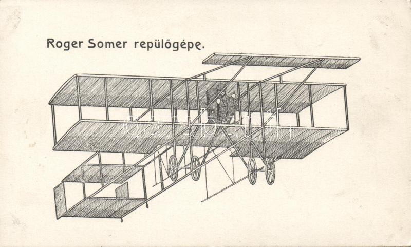 Roger Sommer in a Farman biplane, Roger Somer repülőgépe