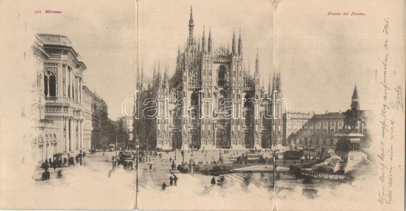 Milan Dome square, panorama card, Milano Dóm tér, panorámalap