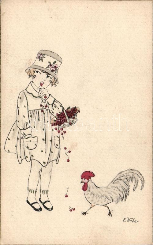 Child and rooster s: E Weber, Kislány és kakas s: E Weber