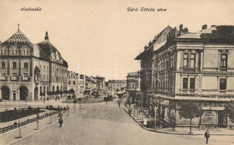Subotica, street, shops, Szabadka, Báró Eötvös utca, Taussig Vilmos és a Lőwy Testvérek üzlete,