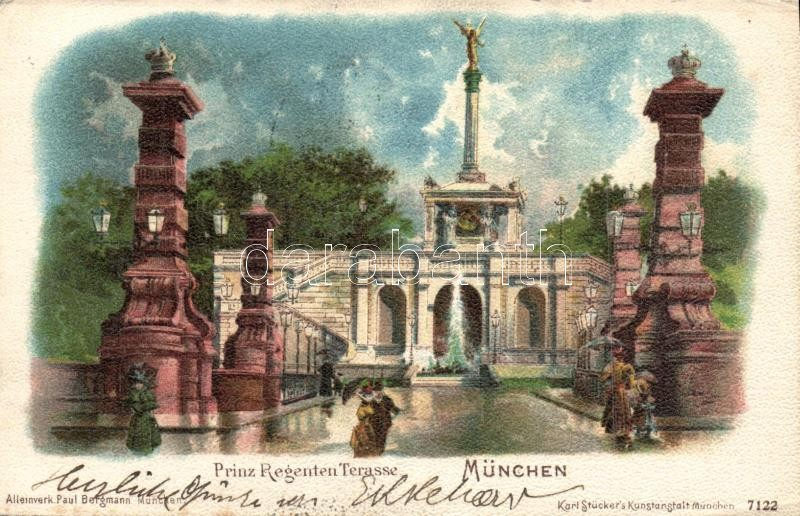 1898 Munich Princ Regent terrace litho, 1898 München Prinz Regenten Terasse litho