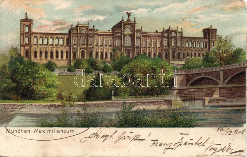 Munich, Maximilianeum litho, München, Maximilianeum litho
