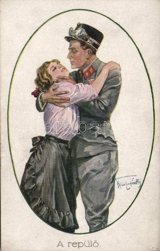 Military pilot and his lover, artist signed, Katonai pilóta és szerelme, szignózott