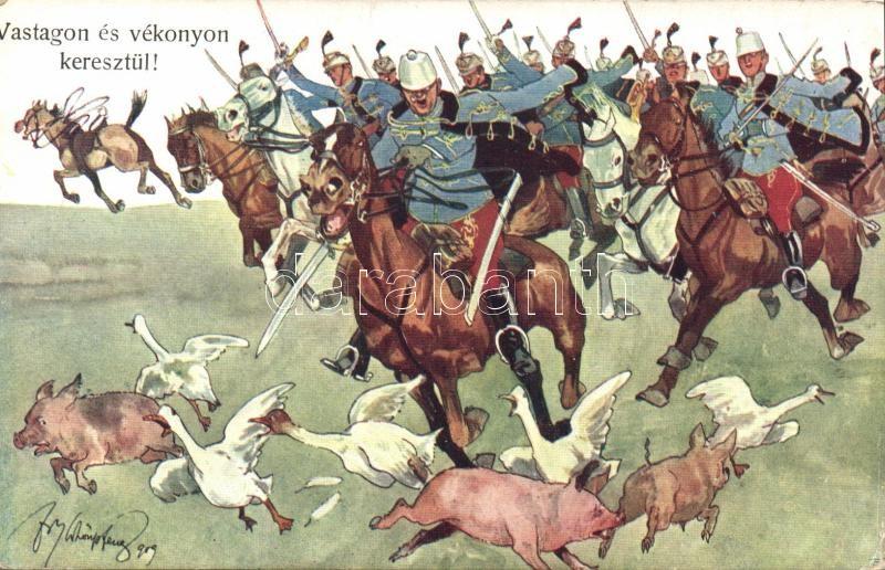 K.u.K. cavalry, humour, pig, goose B.K.W.I. 346-9. s: Schönpflug, K.u.K. lovaskatonák, humor, malac, liba B.K.W.I. 346-9. s: Schönpflug