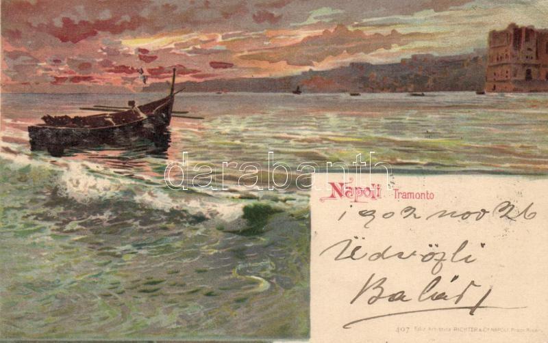 Naples, Napoli; Tramonto, Richter & Co. 407. litho