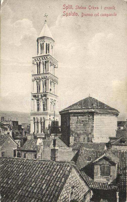 Split, Spalato, cathedral and bell tower, Split katedrális és harangtorony