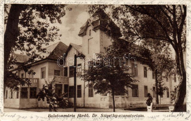 Balatomáriafürdő Dr. Szigethy sanatorium, Balatomáriafürdő Dr. Szigethy szanatórium