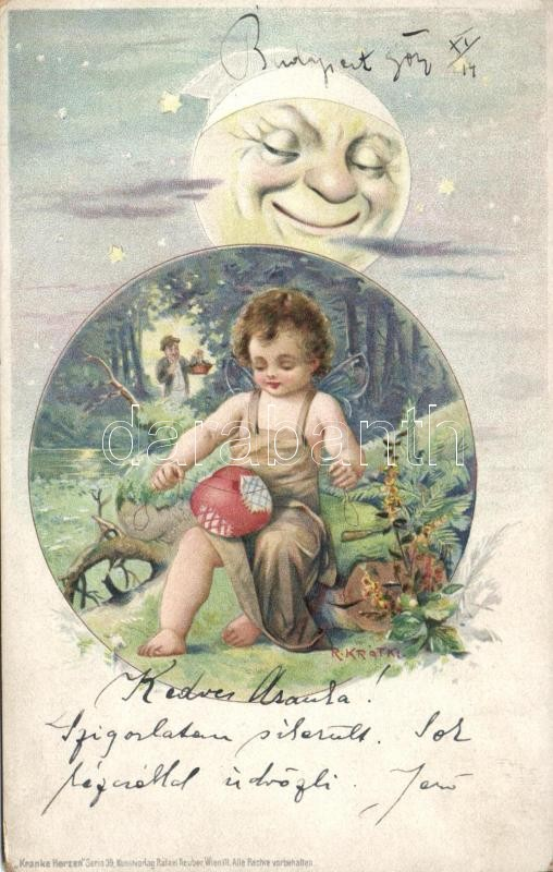 Child with fairy wings, moon, litho s: R. Kratki
