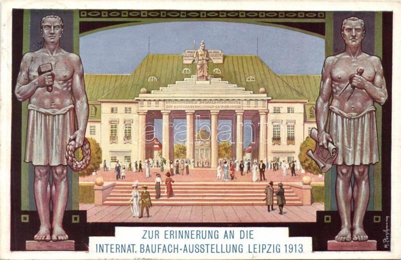 1913 Leipzig, Zur erinnerung an die internat. Baufach-Ausstellung / memorial card of the Architect Exhibition, s: M. Pörschmann
