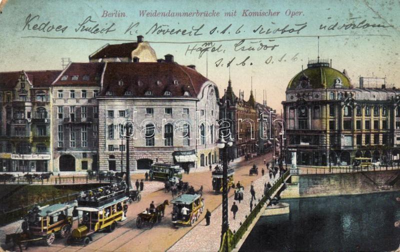 Berlin, Weidendamerbrücke mit Komischer Oper / bridge, Theatre, trams