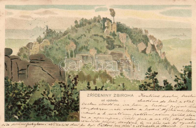 Zriceniny Zbiroha, od vychodu / view from the east, litho