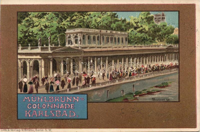 1899 Karlovy Vary, Karlsbad; Mühlbrunn Colonnade / promenade, litho, s: V. Hawlicek