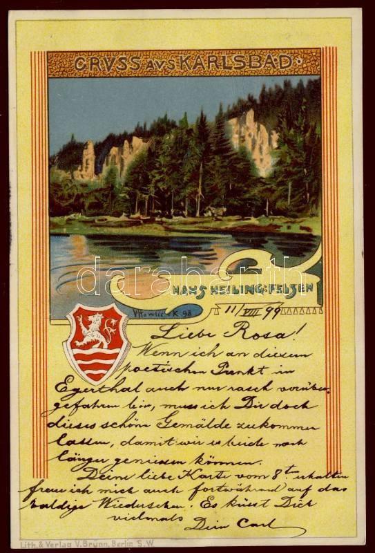 1899 Karlovy Vary, Karlsbad; Hans-Heilig-felsen / natural park, litho, s: V. Hawlicek