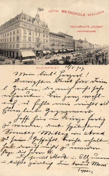 Budapest VII. Hotel Metropole szálloda, villamos, kávéház