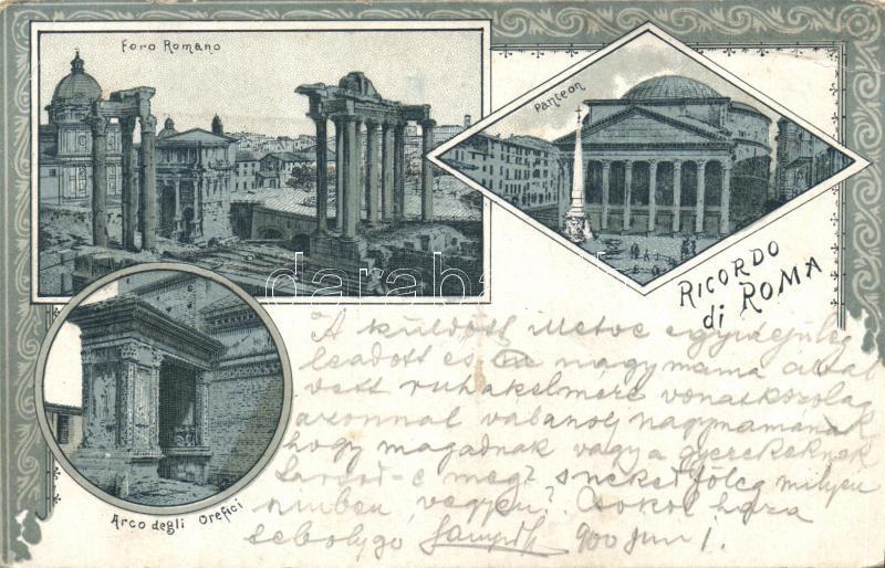 Rome, Roma; Foro Romano, Panteon, Arco degli Orefici / square, temple, arcade Art Nouveau litho