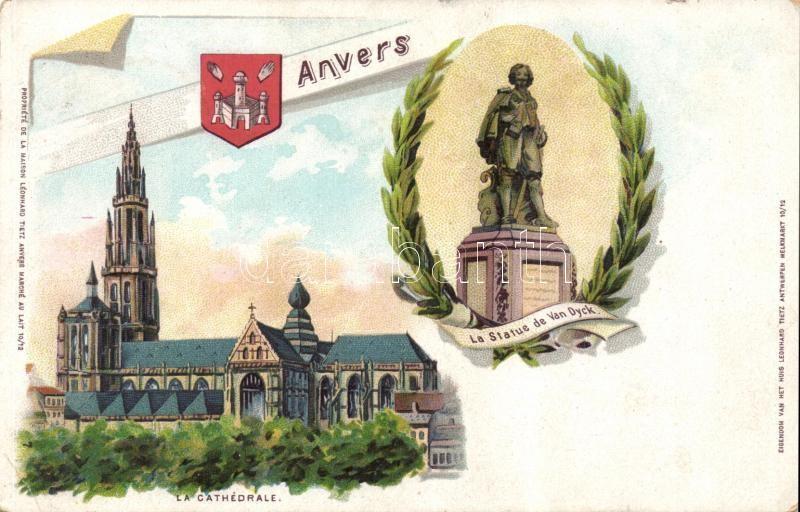 Antwerpen, Anvers; La Statue de Van Dyck, La Cathedrale / statue, cathedral, floral, litho